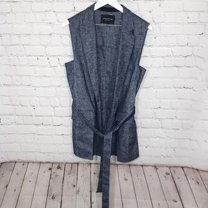 Lafayette 148 NY Vest Tie Waist Chambray Duster
